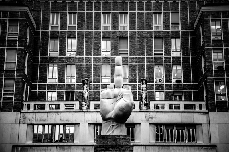 Sculpture in Piazza Affari, Milan, Italy